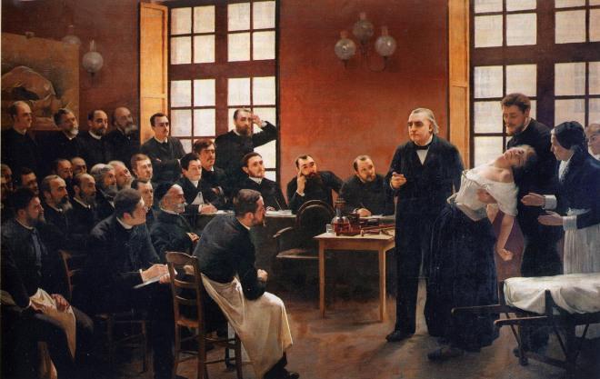 """Une leçon clinique à la Salpêtrière est un tableau d'André Brouillet. Il représente Charcot donnant une leçon sur """"l'hystérie"""" (le syndrome de conversion)"""
