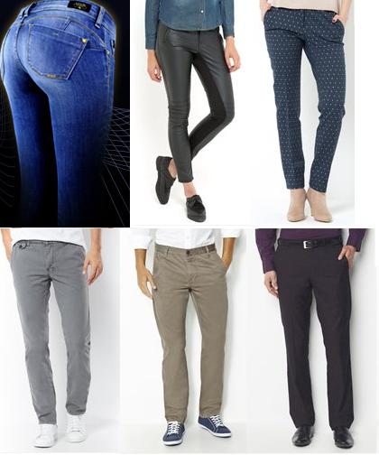 En haut, pantalons de femmes, en bas, pantalons d'hommes (images tirées du site de la Redoute et prises au hasard). Remarquons aussi la position plus instable des femmes
