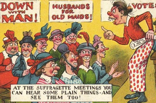 « Au meeting des suffragettes, on entend des choses simples – on les entend également », carte postale britannique, début du XXème siècle (source)