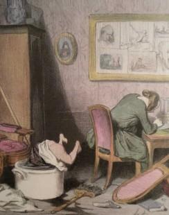 """Texte accompagnant l'image : """"La mère est dans le feu de la composition, l'enfant est dans l'eau de la baignoire !'"""""""