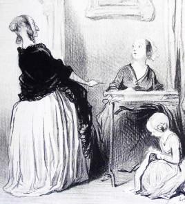 """Caricature d'une """"Bas-bleus"""" par Daumier. Texte accompagnant l'image : """"Ah! ma chère, quelle singulière éducation vous donnez à votre fille?. mais à douze ans, moi, j'avais déjà écrit un roman en deux volumes... et même une fois terminé, ma mère m'avait défendu de le lire, tellement elle le trouvé avancé pour mon âge."""""""