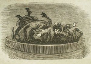 L'ogresse de la Belle au Bois Dormant dans la cuve, illustration de la deuxième moitié du XIXème siècle (source)